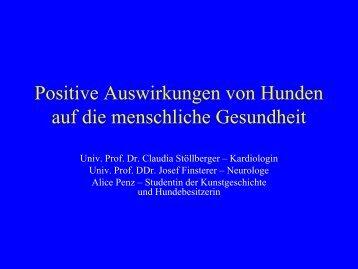 Positive Auswirkungen von Hunden auf die ... - Tiere als Therapie
