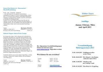 Ausflüge Oktober, November und Dezember 2012 ... - Sieber-Tours