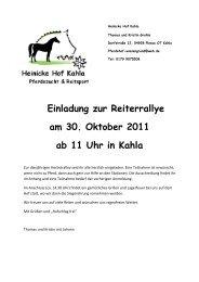 Einladung zur Reiterrallye am 30. Oktober 2011 ab 11 Uhr in Kahla