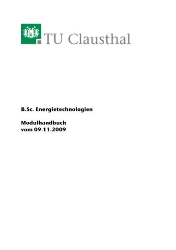 B.Sc. Energietechnologien Modulhandbuch vom 09.11.2009