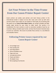Get Your Printer in the Time Frame from Our Canon Printer Repair Center