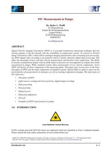 PIV Measurements in Pumps - Nato
