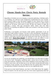 Choose Hassle-free Clovis Party Rentals Service