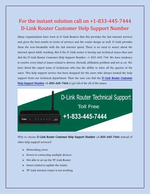 D-Link Router Customer Help Support Number +1-833-445-7444