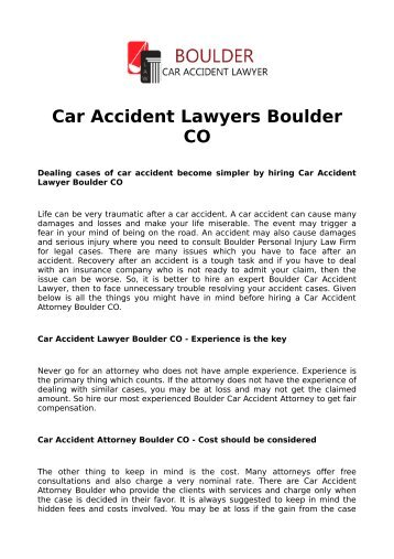 Car Accident Lawyers Boulder CO