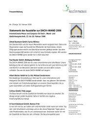 Statements der Aussteller zur DACH+WAND 2006