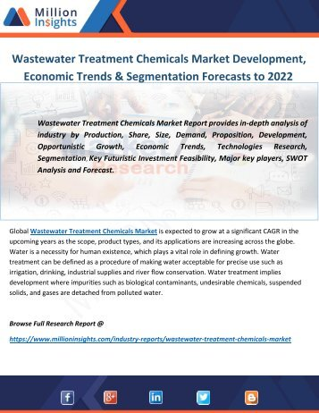 Wastewater Treatment Chemicals Market Development, Economic Trends & Segmentation Forecasts to 2022