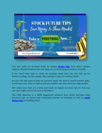 Stock Tips | Stock Future Tips Provider | Intraday tips