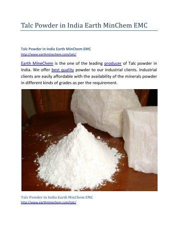Talc Powder in India Earth MinChem EMC