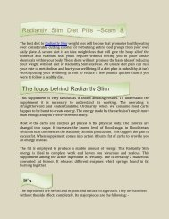 Radiantly Slim Weight loss Pills Plan
