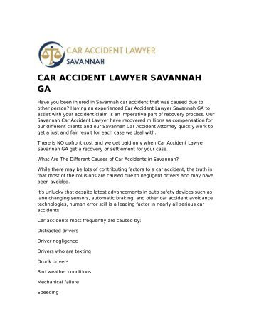 CAR ACCIDENT LAWYER SAVANNAH GA
