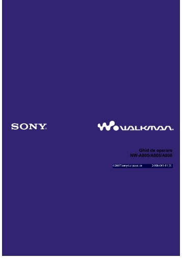 Sony NW-A808 - NW-A808 Mode d'emploi Roumain