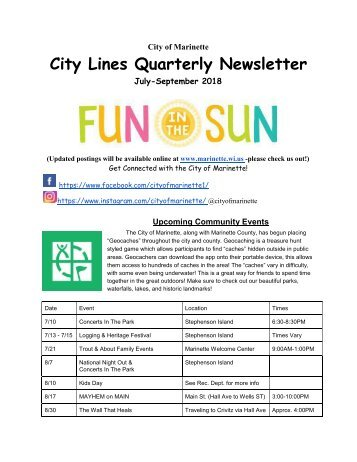 CITY LINES NEWSLETTER - SUMMER EDITION