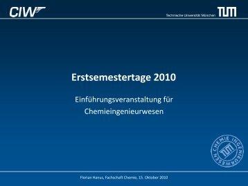 Einführungsveranstaltung - Fachschaft Chemie - TUM