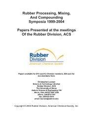 Rubber Processing Symposia - Rubber Division