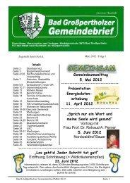 Gemeindebrief März 2012 /Folge 1 - Marktgemeinde Bad Großpertholz