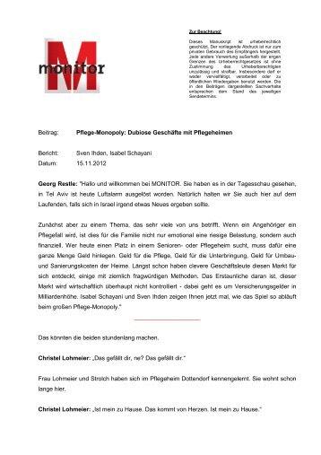 Beitrag: Pflege-Monopoly: Dubiose Geschäfte mit ... - WDR.de