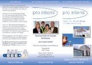 Flyer pro intens - Häusliche Intensivpflege und ... - pro intens Gmbh