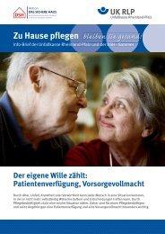 Patientenverfügung, Vorsorgevollmacht Zu Hause pflegen
