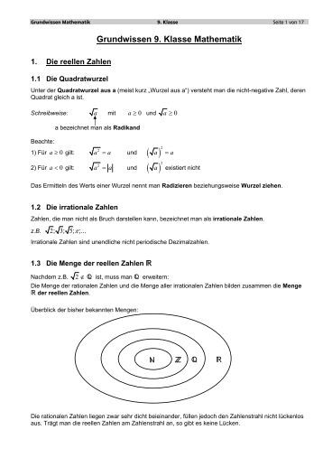 Grundwissen 9. Klasse Mathematik