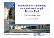 Hochschulföderalistische Kompetenzordnung in ... - Peer Pasternack