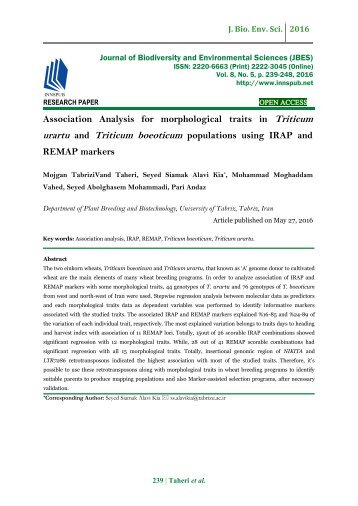 Association Analysis for morphological traits in Triticum urartu and Triticum boeoticum populations using IRAP and REMAP markers