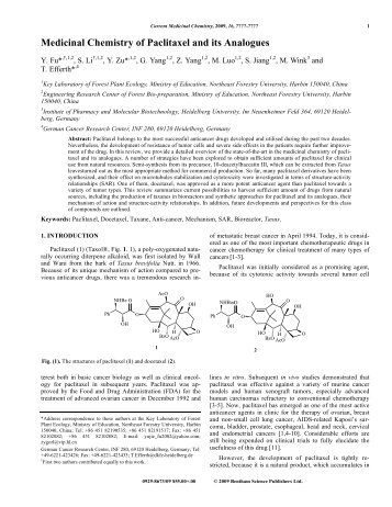 Medicinal Chemistry of Paclitaxel and its Analogues