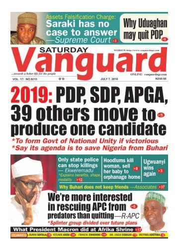 07072018 - 2019: PDP, SDP. APGA 39 others move to produce one candidate