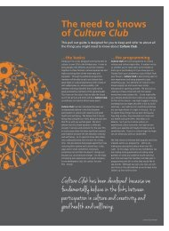 The need to knows of Culture Club - Voluntary Action Kirklees