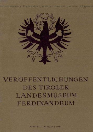 veröffentlichungen des tiroler landesmuseum ferdinandeum