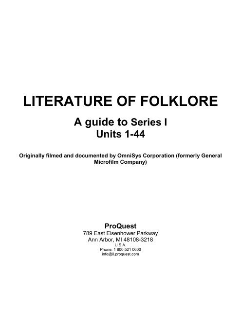 Proquest Literature Of Folklore Research Collections Pdf