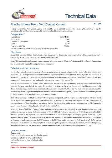 Mueller Hinton Broth No.2 Control Cations - HiMedia Laboratories