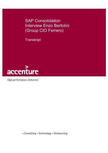 SAP Consolidation Interview Enzo Bertolini (Group CIO ... - Accenture