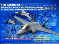 JSF Autonomic Logistics & Global Sustainment Overview