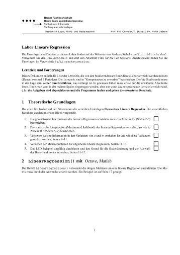Labor Lineare Regression 1 Theoretische Grundlagen 2 ...