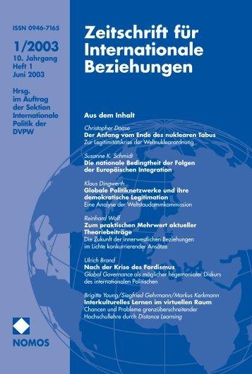1/2003 - Zeitschrift für Internationale Beziehungen (ZIB) - Nomos