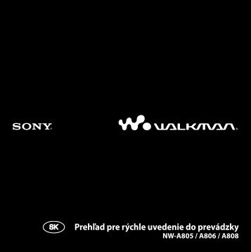 Sony NW-A808 - NW-A808 Mode d'emploi Slovaque