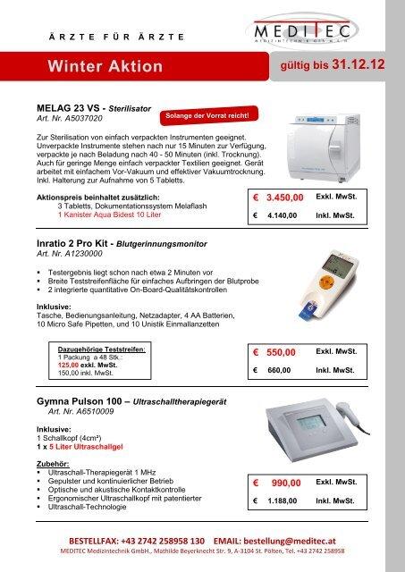 gültig bis 31.12.12 Winter Aktion - Meditec Medizintechnik GmbH