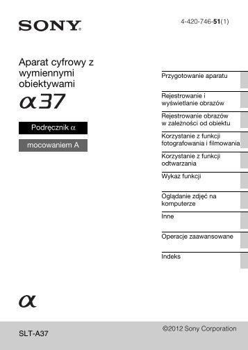 Sony SLT-A37Y - SLT-A37Y Consignes d'utilisation Polonais