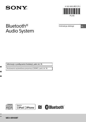 Sony MEX-XB100BT - MEX-XB100BT Istruzioni per l'uso Polacco
