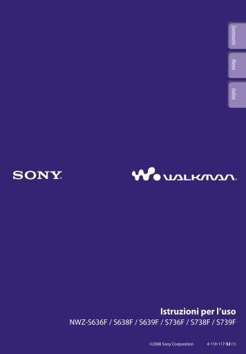 Sony NWZ-S736F - NWZ-S736F Consignes d'utilisation Italien