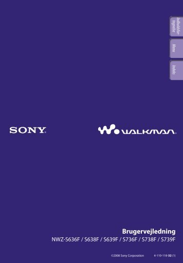 Sony NWZ-S736F - NWZ-S736F Consignes d'utilisation Danois