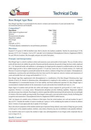 Rose Bengal Agar Base - HiMedia Laboratories