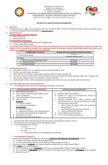 Lotto Outlet Application Form - Philippine Charity Sweepstakes Office