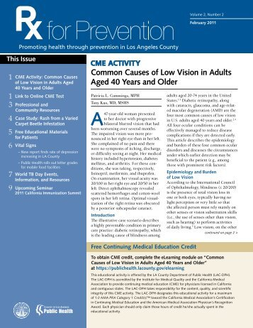 Common Causes of Low Vision in Adults Aged 40 Years and Older