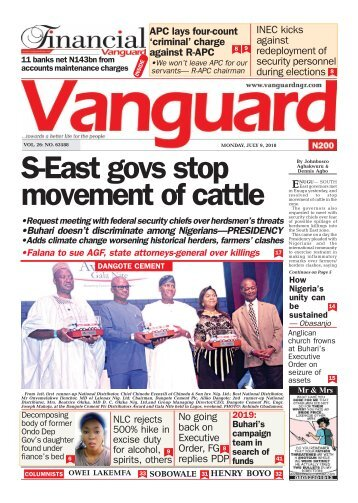 09072018 0- S-East govs stop movement of cattle