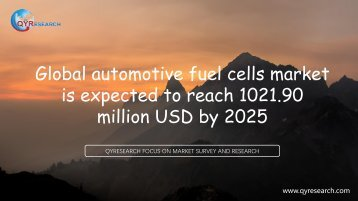 Global automotive fuel cells market is expected to reach 1021.90 million USD by 2025