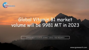 Global Vitamin B1 market volume will be 9981 MT in 2023