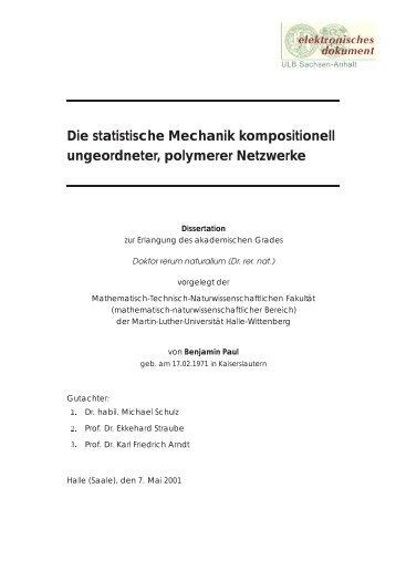 Die statistische Mechanik kompositionell ungeordneter, polymerer ...