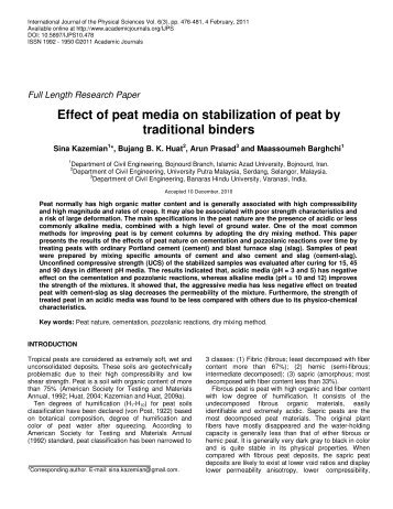 Effect of peat media on stabilization of peat by traditional binders